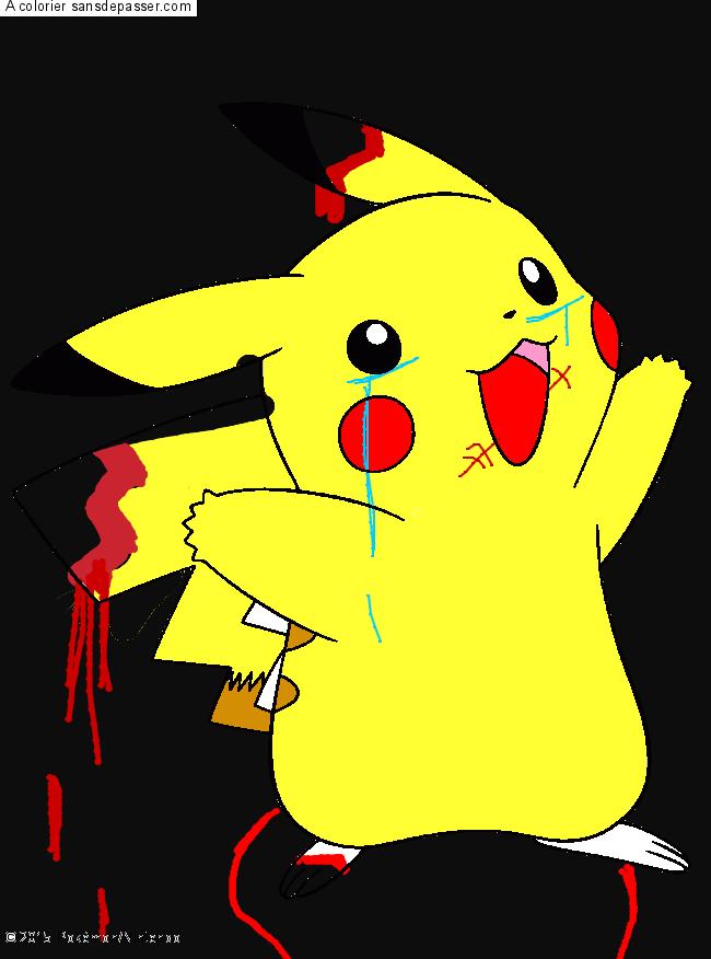 Dessin Colorié Pikachu Par Pixel Sans Dépasser