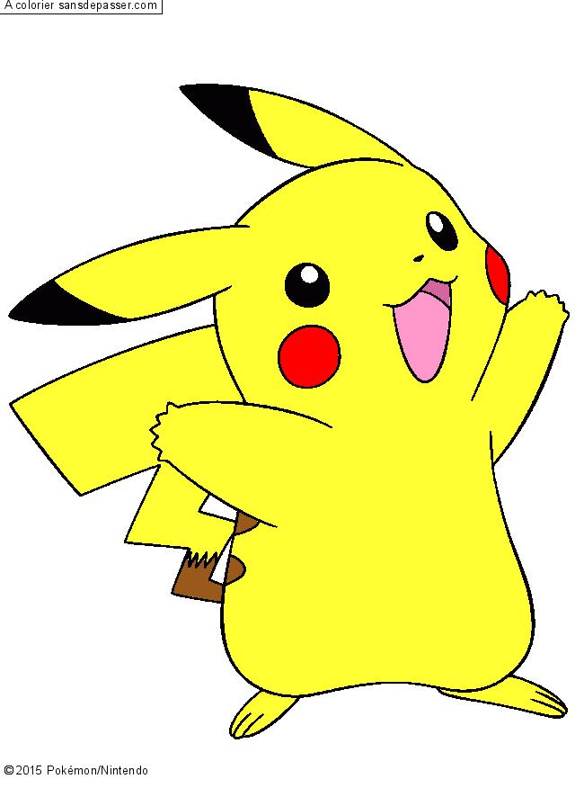 Coloriage pikachu sans d passer - Pikachu en dessin ...