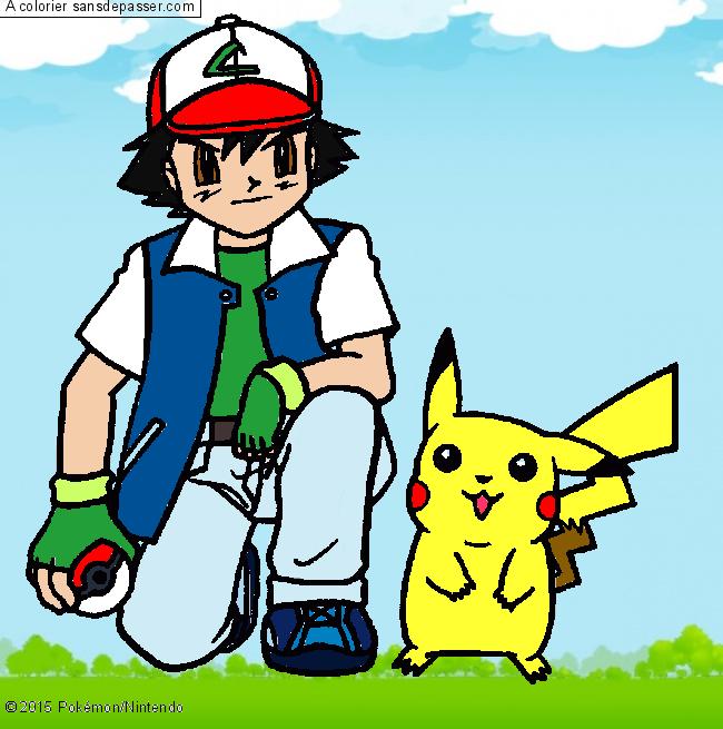 Coloriage Sacha Et Pikachu Sans Depasser