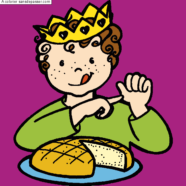 Dessin Colorie On Mange La Galette Par Un Invite Sans Depasser