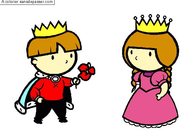 Dessin Colorié Prince Et Princesse Par Un Invité Sans