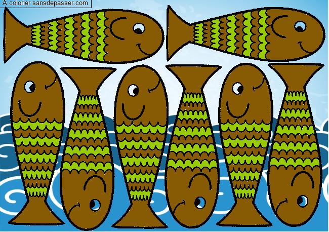 Coloriage Petits poissons - Sans Dépasser
