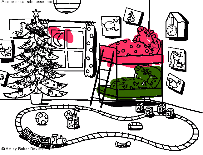 Coloriage Peppa Pig Attend Noel Sans Depasser