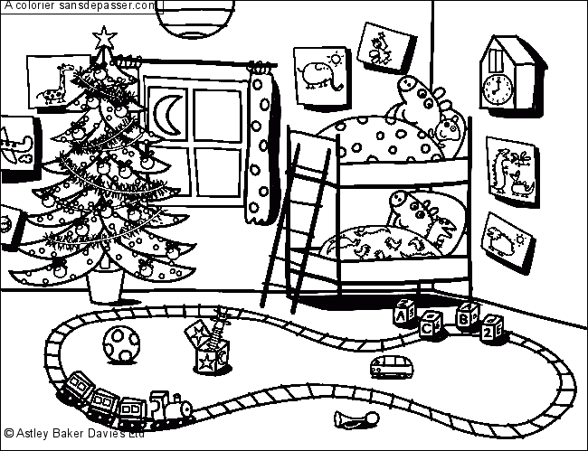 Coloriage Peppa Pig Attend Noël Sans Dépasser