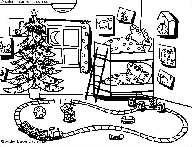 Coloriage Peppa Pig attend Noël - Sans Dépasser