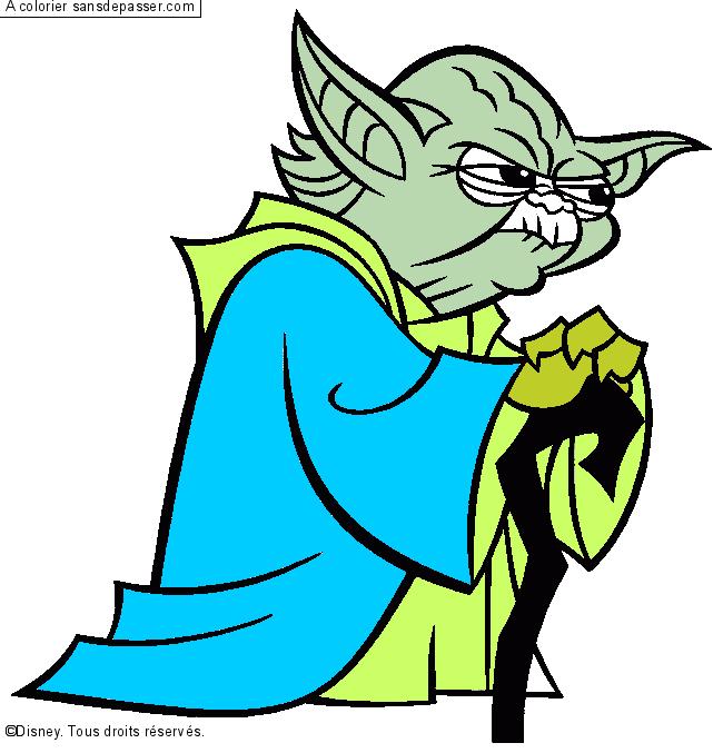 Dessin Colorie Yoda Par Un Invite Sans Depasser