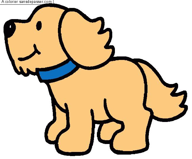 Coloriage chien sans d passer - Image de chien dessin ...