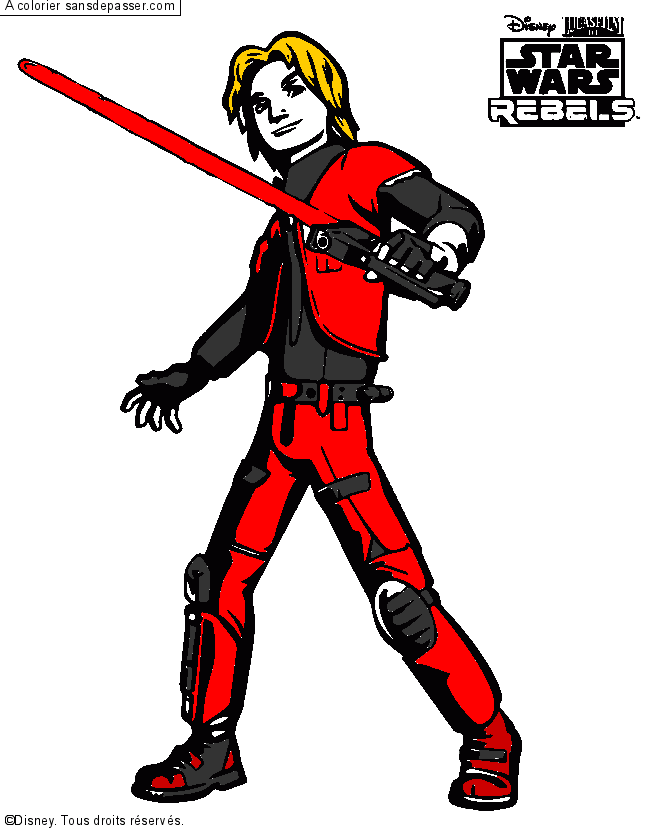 Coloriage star wars rebel ezra sans d passer - Yoda coloriage ...