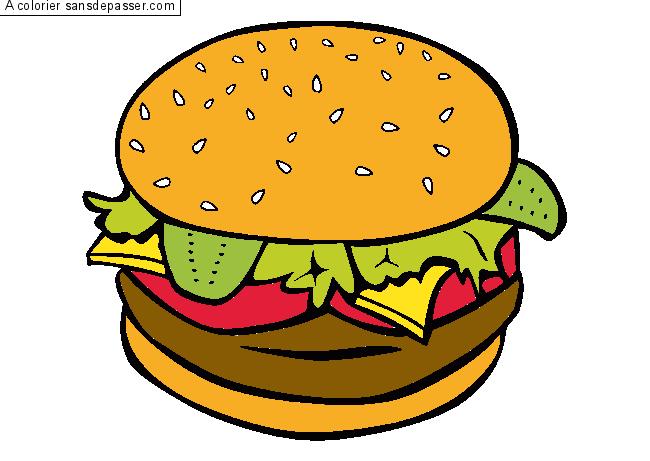 Dessin colorié : Hamburger par un invité - Sans Dépasser