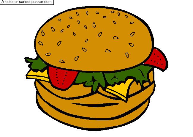 Coloriage Hamburger - Sans Dépasser