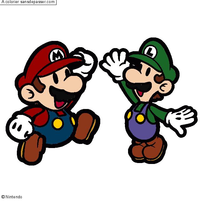 Coloriage Mario Et Luigi Sans Dépasser