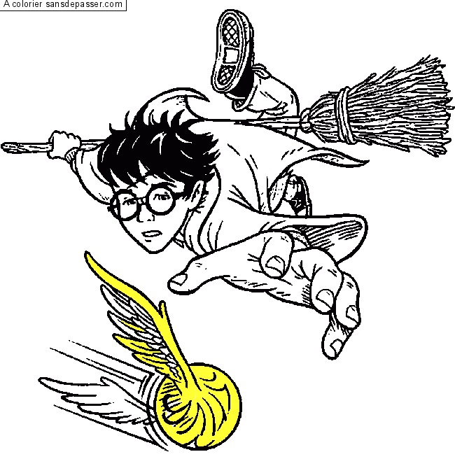 Coloriage Harry Potter Et Le Match De Quidditch Sans Depasser