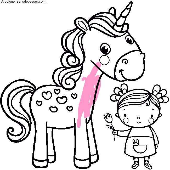 Coloriage Cheval Licorne Imprimer.Coloriage La Licorne Et La Petite Fille Sans Depasser