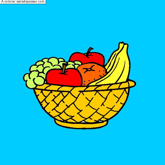 Dessin Colorié Corbeille De Fruits Par Deydey97 Sans Dépasser