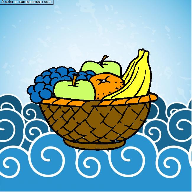 Dessin Colorié Corbeille De Fruits Par Zoé Sans Dépasser