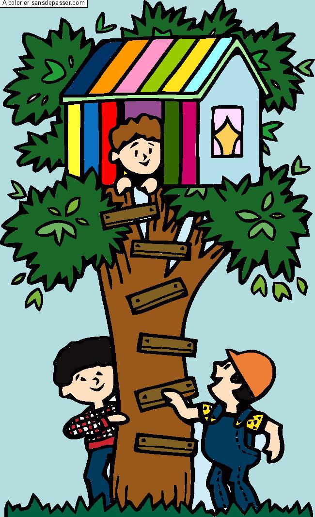 Coloriage cabane dans les arbres sans d passer - Dessin de cabane ...