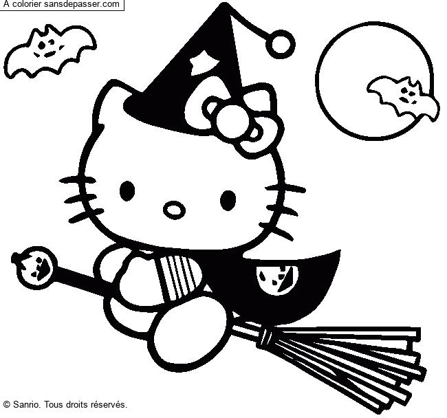 Coloriage Hello Kitty Fete Halloween Sans Depasser