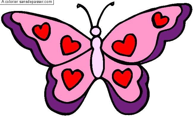 Coloriage Petit papillon à gommettes - Sans Dépasser