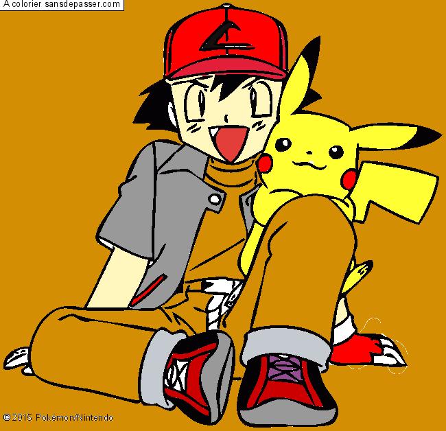 Dessin colorié : Pikachu et Sacha par un invité - Sans ...