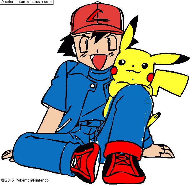 Coloriage Pikachu Et Sacha Sans Depasser