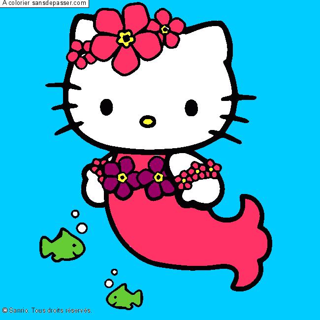 Coloriage Hello Kitty Sirène - Sans Dépasser