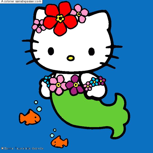 Coloriage de hello kitty en sirene www - Hello kitty sirene ...