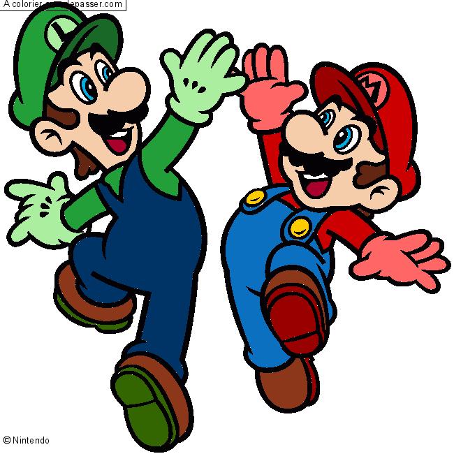Coloriage Mario et Luigi - Sans Dépasser