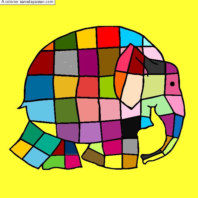 Coloriage Elmer Lelephant A Imprimer.Coloriage Elmer L Elephant Multicolore Sans Depasser