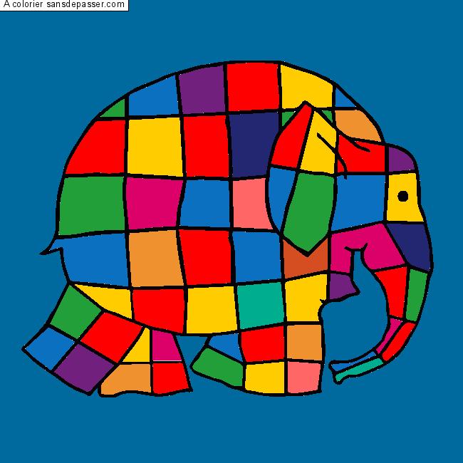 Dessin colorié : Elmer, l'éléphant multicolore par un ...