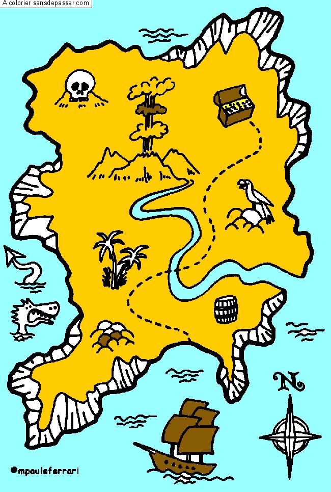 Coloriage Carte Au Trésor Sans Dépasser