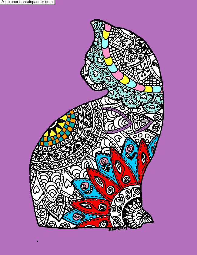 Coloriage Mandala Chat par un invité