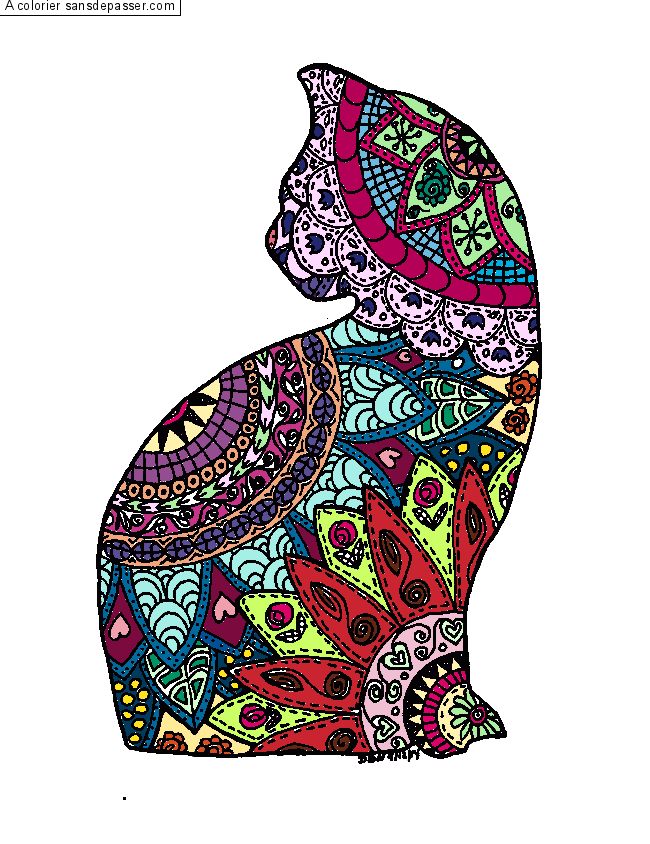 Coloriage mandala chat sans d passer - Image de chat a imprimer ...