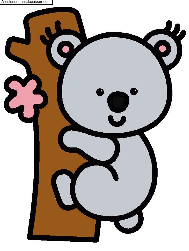 Dessin Colorie Koala Par Un Invite Sans Depasser