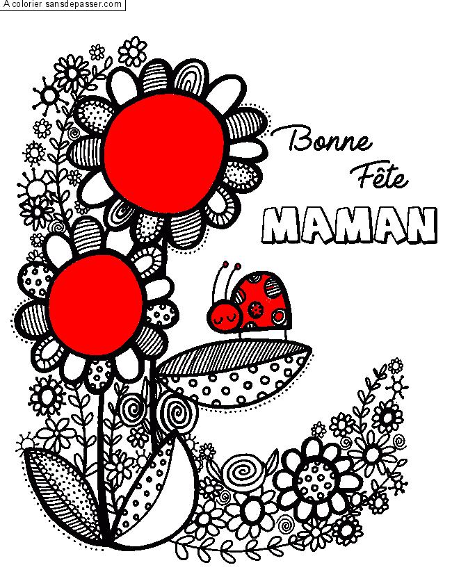 Dessin Colorié Bonne Fête Maman Par Un Invité Sans Dépasser