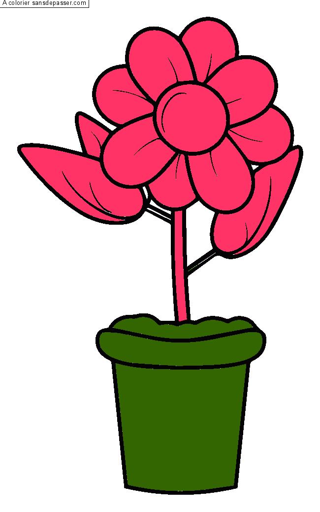 Coloriage Fleur Pot.Coloriage Pot De Fleur Sans Depasser