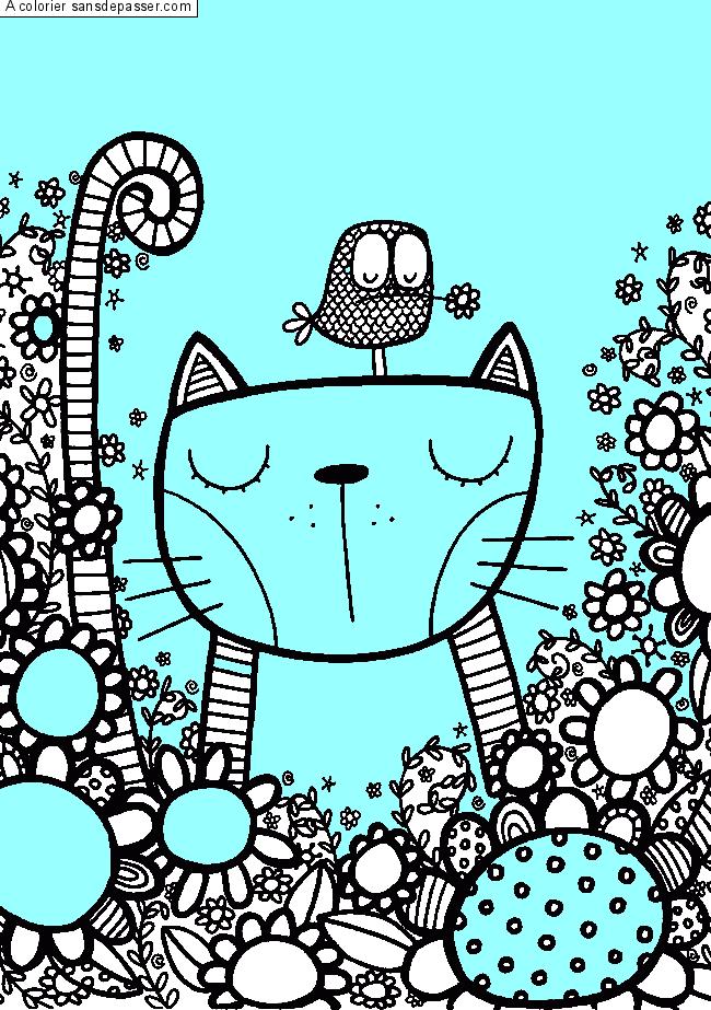Coloriage Chat et oiseau dans un champ de fleurs - Sans ...