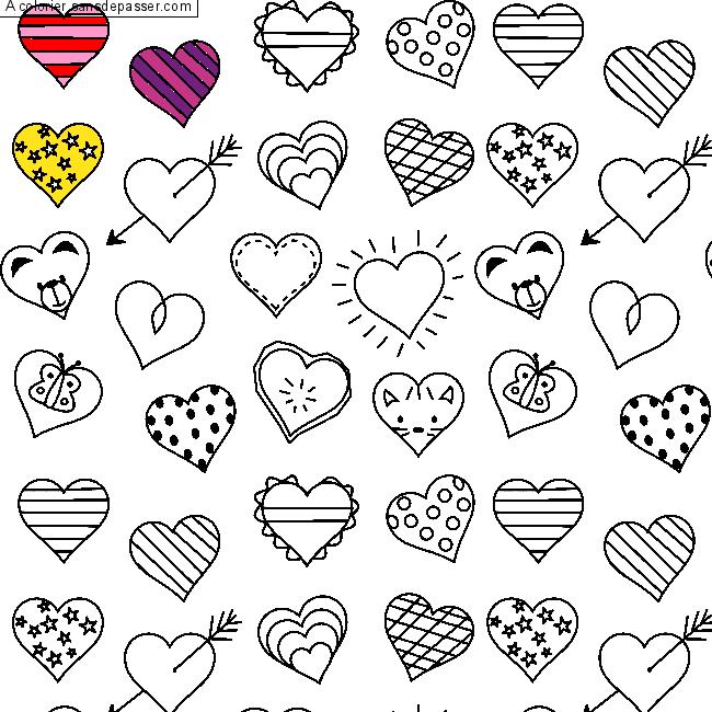 Coloriage coeur colorier sans d passer - Image de coeur a colorier ...