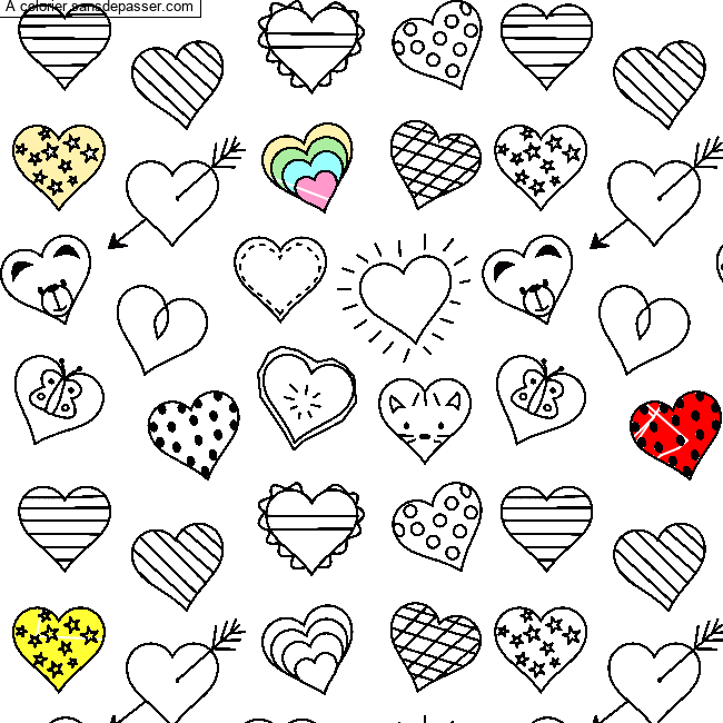 Coloriage Petits Coeurs Sans Depasser