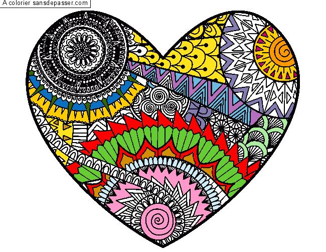 Coloriage Coeur Motif.Coloriage Coeur Et Mandala Sans Depasser