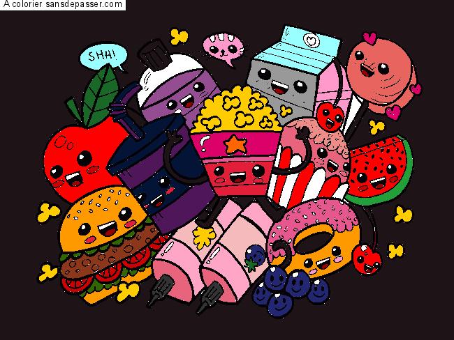 Dessin colorié : Aliments Kawaii par un invité - Sans Dépasser