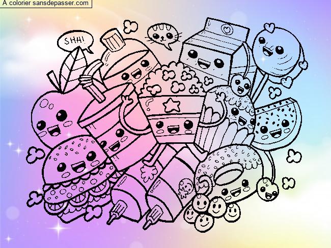 Coloriage Kawaii Nourriture