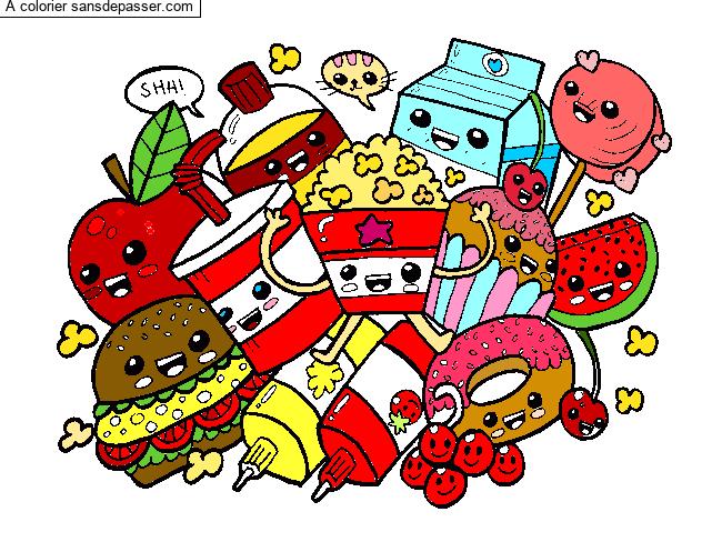 Coloriage Aliments Kawaii Sans Depasser