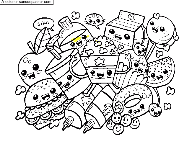 Coloriage Aliments Kawaii par un invité