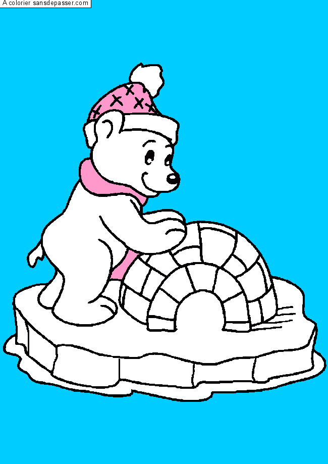 Coloriage Ours et son igloo