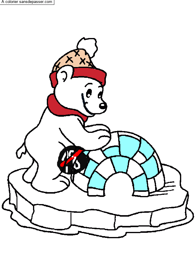 Coloriage Ours et son igloo par pipi