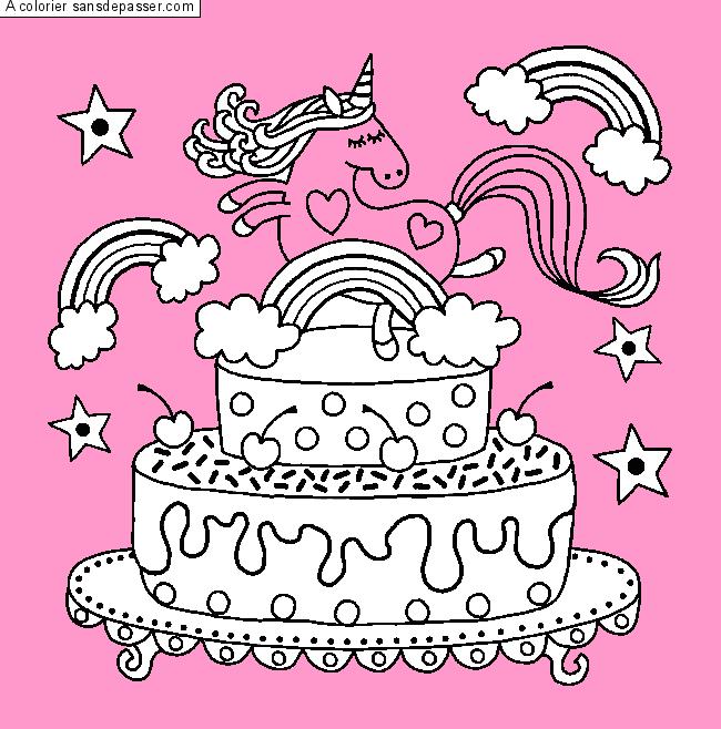 Coloriage Gâteau Danniversaire Licorne Sans Dépasser