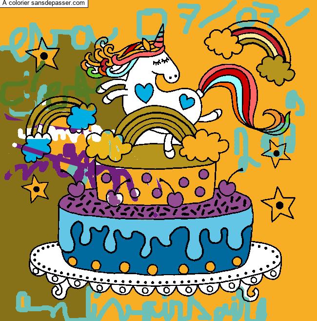 Coloriage Gâteau d'anniversaire Licorne - Sans Dépasser