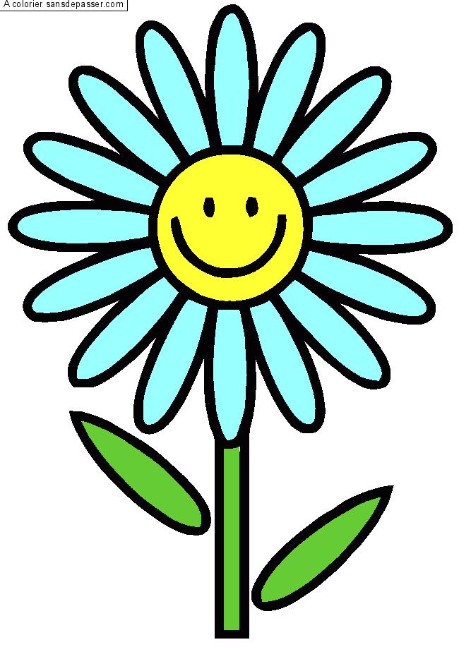 Coloriage fleur souriante sans d passer - Fleur dessin images ...