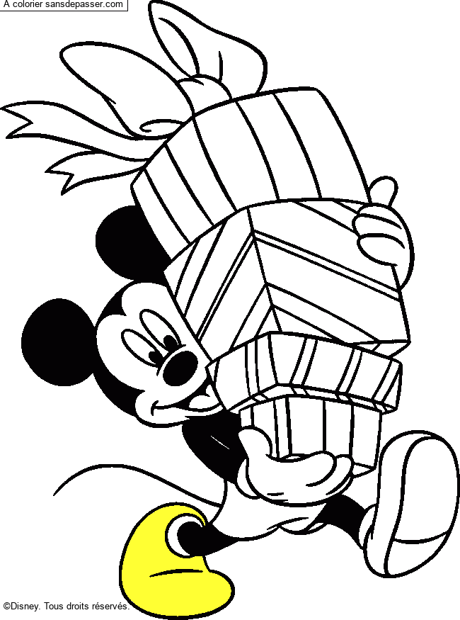 Coloriage Mickey Et Les Cadeaux Sans Depasser