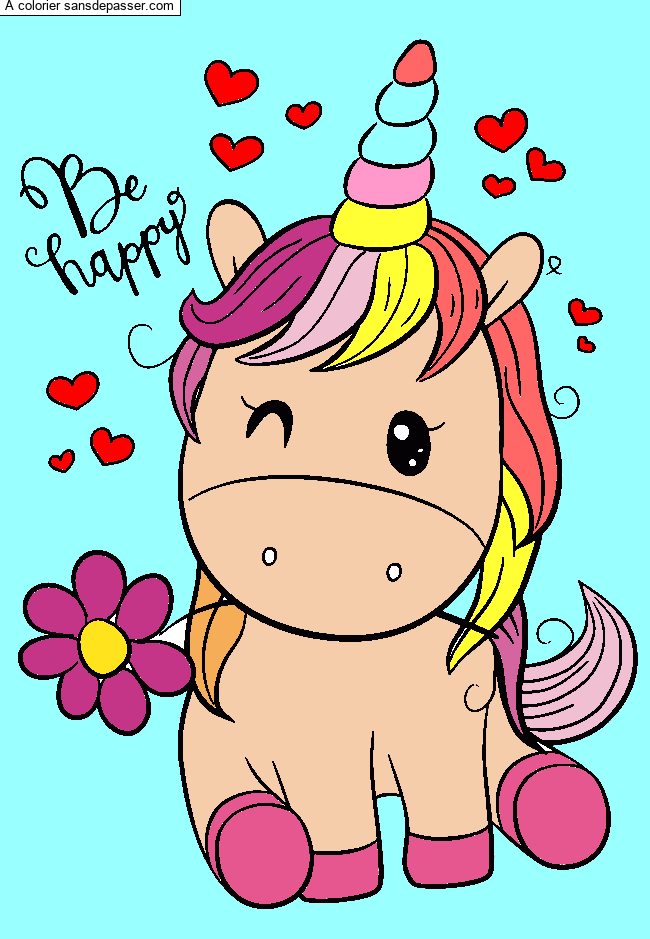Coloriage Licorne souriante